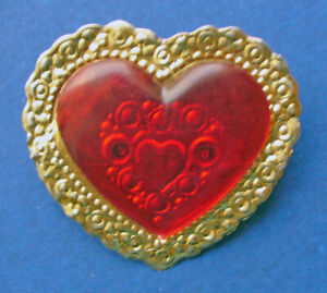 Hallmark-PIN-Valentines-Vintage-HEART-Gold-FOIL-LACE-Clear-RED-Holiday-RARE