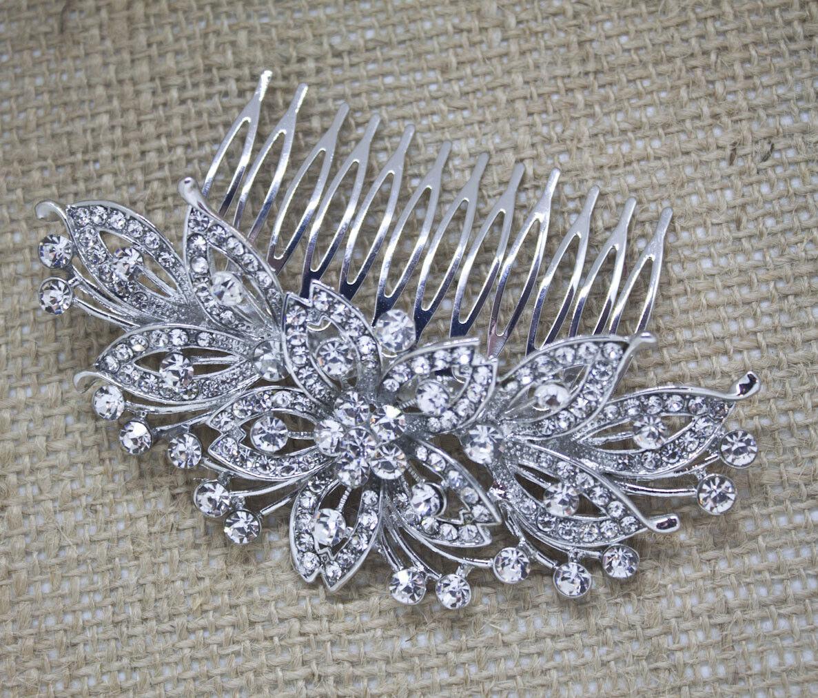 Silver tone hair comb bridal wedding crystal rhinestone hair accessories ha4867