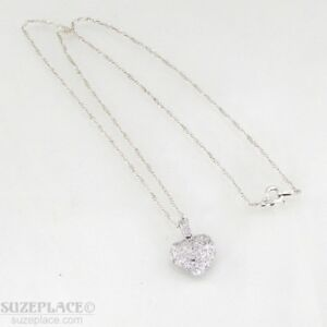 STERLING-SILVER-CUBIC-ZIRCONIA-HEART-PENDANT-NECKLACE-NWOT-GREAT-GIFT-IDEA