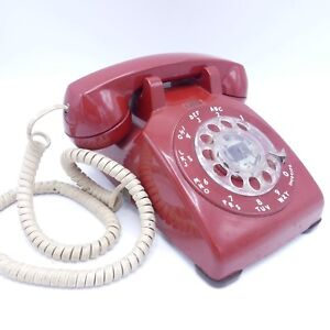Bell-Western-Electric-Rotary-Dial-Cherry-Red-Phone-Vintage-1980s-Desk-Telephone