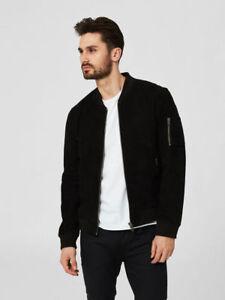 Men-039-s-Black-Suede-Leather-Jacket-Slim-fit-Motorcycle-Bomber-Biker-Jacket-M2