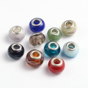 200-pc-Handmade-Lampwork-European-Beads-Large-Hole-Jewelry-Bracelet-Making