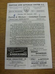 14-09-1963-Tooting-And-Mitcham-United-v-Corinthian-Casuals-Four-Pages-Score-N