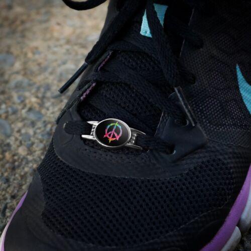 Tie Dye Peace Sign Shoe Shoelace Shoe Lace Tag Runner Gym Charm Decoration
