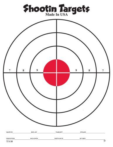 150 Red bullseye hand gun and rifle paper shooting targets (8.5X11)