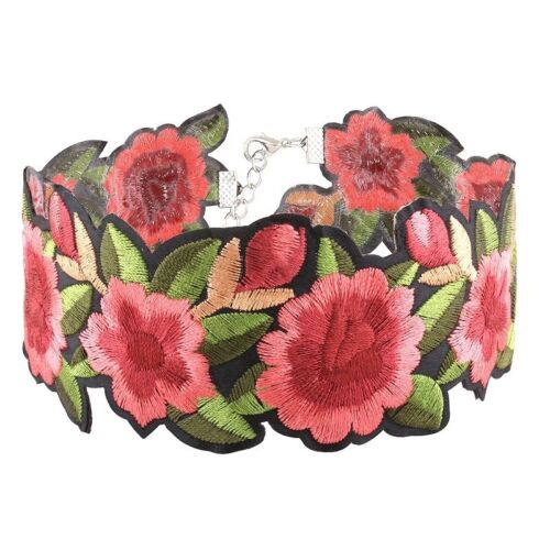 Choker Embroidered Flower Necklace Summer Fashion Jewellery Colar Gift Birthday