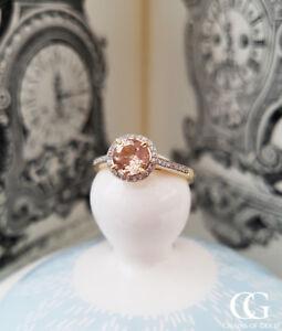 9-Ct-Oro-Amarillo-Morganita-y-diamantes-en-una-configuracion-de-anillo-de-compromiso-Vestido-de-Halo
