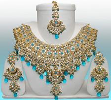 Indian ASHWAIRIYA'S GLAMOUR  Blue BRIDAL JEWELRY SET W/ TIKKA