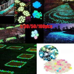 1-100-Glow-In-The-Dark-Stones-Pebbles-Rock-FISH-TANK-AQUARIUM-Garden-Walkway-SP