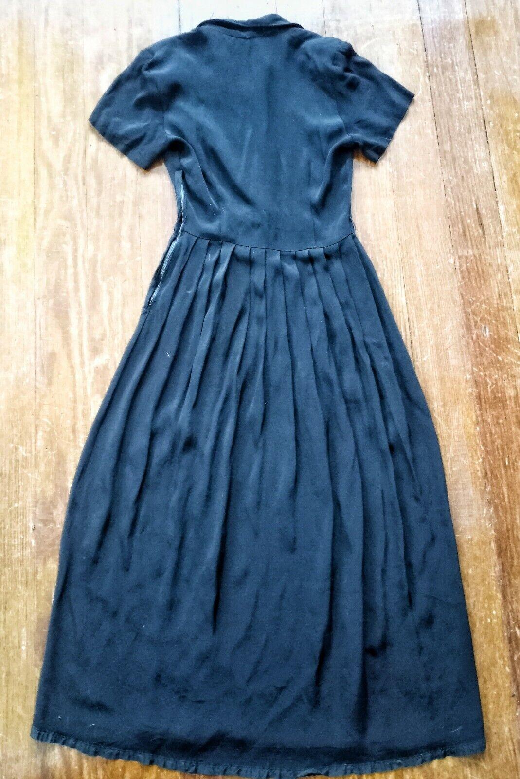 Vintage 1940's Black Rayon Dress - image 5