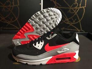Details about Nike Air Max 90 Essential (AJ1285 012) Wolf GreyBright Crimson Black Sz7.5