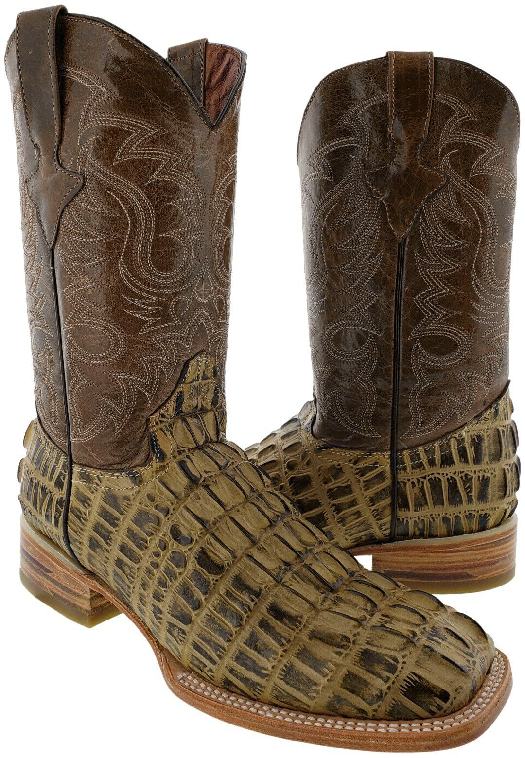 Mens All Real Leather Sand Alligator Design Western Rodeo Exotic Cowboy Boots