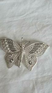 GORGEOUS-2-5-034-VINTAGE-DESIGNER-SIGNED-NW-STERLING-HINGED-BUTTERFLY-BROOCH-SILVER