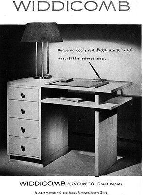 Widdicomb Furniture Bisque Mahogany Desk MID CENTURY MODERN 1949 Print Ad