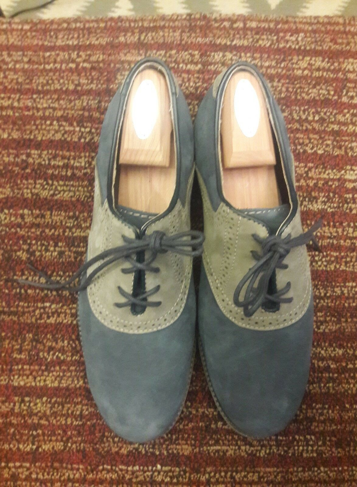 G.H Bass & Co Carson Mens Oxford Wing Tip shoes US 10 M bluee Suede Lace Up