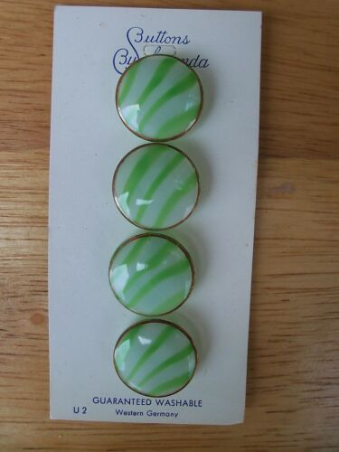 4 VINTAGE GREEN /& WHITE SATIN STRIPED MOONGLOOW GLASS BUTTONS W GOLD LUSTER 17mm