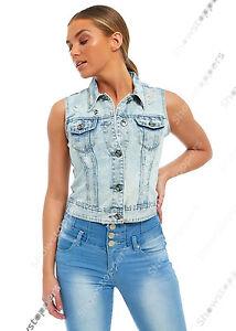 NEW DENIM JACKET Womens Jean Jackets LADIES Cropped Waistcoat Size 8 10 12 14 16