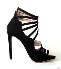 NIB $890 PRADA MIU MIU black cut-out strappy back zipper shoes 41 11 - RUNWAY