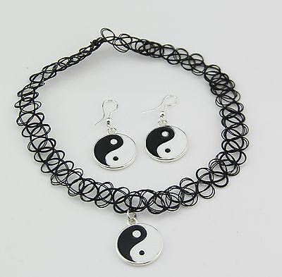 Yin and Yang Tattoo Choker Elastic Necklace earring Pendant Grunge 90s Ying Fest