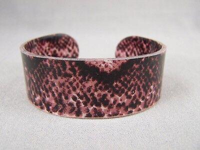 "Brown Black snake lizard skin print plastic bangle cuff 1"" wide bracelet"