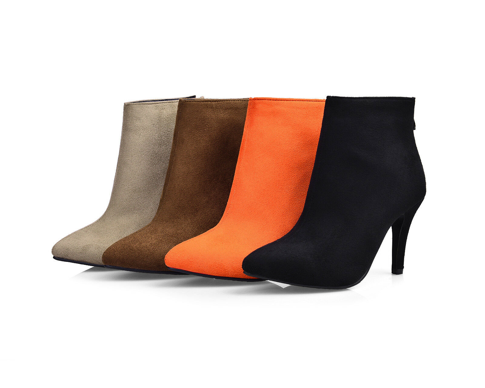 Fashion Womens Faux Suede Pointed Toes Shoes Slim High Heel Zip Ankle Boots B282