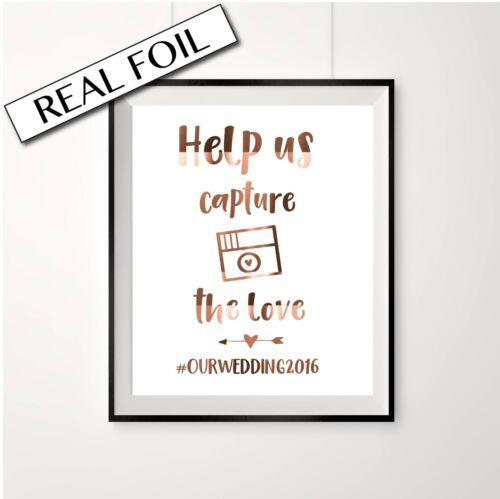 Copper wedding Instagram hashtag print sign Help us capture the Love custom