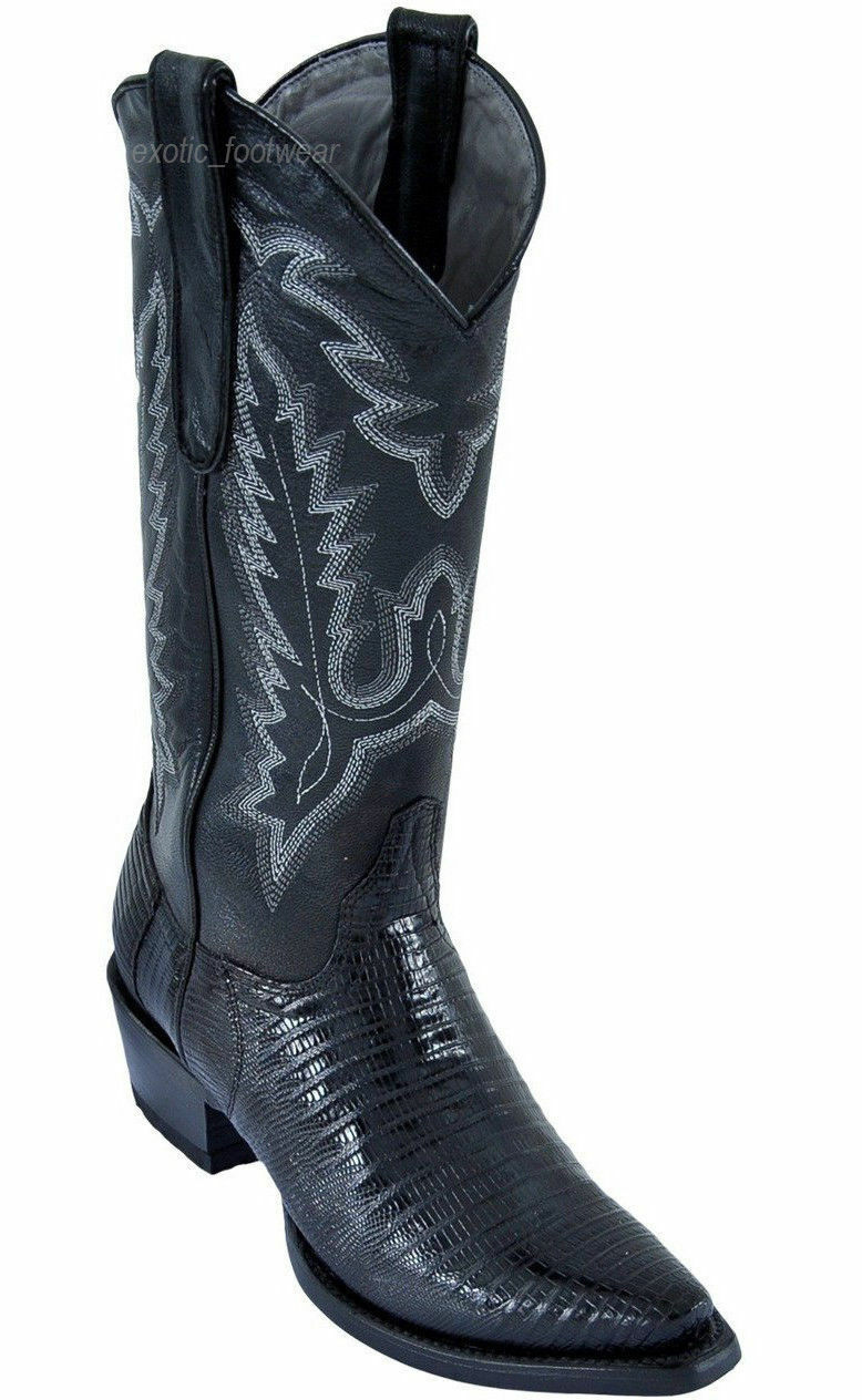 LOS ALTOS WOMEN BLACK GENUINE TEJU LIZARD SNIP TOE WESTERN COWBOY BOOT 340705