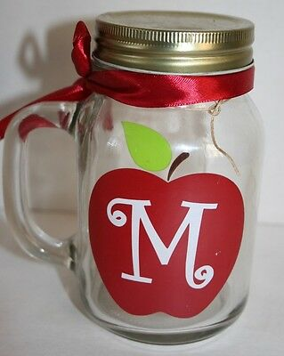 Apple Teacher Gift Mason Jar Container With Handle & Lid Apple Decal Initial M