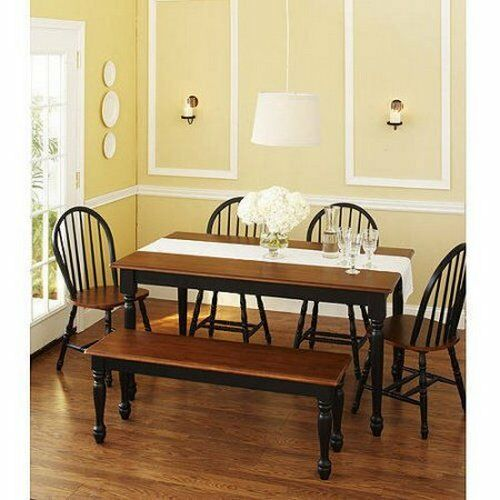 6 Piece Kitchen Dining Set Farmhouse Table Bench 4 Chairs Solid Wood ...