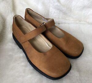 Ecco-Shoes-Sz-5-EUR-38-Tan-Brown-Comfort-Flats-Soft-Leather-Grip-Strap