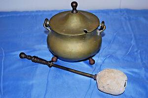 Antique-Mid-19th-C-Bronze-Fire-Starter-Pot-w-Lid-amp-Soapstone-Wand-S3847