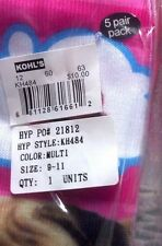 "1 PK 5 PAIR GIRLS ""PINK COOKIE"" SOCKS - ICE CREAM THEME SIZE 9-11 HF401"