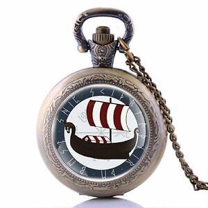 Pocket-Watch-Mini-Viking-Ship-Odin-Zeus-Nordic-Stainless-Steel-Chain-80cm-UM9