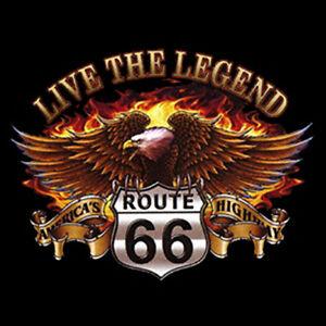 biker t shirt live the legend route 66 gr en s bis. Black Bedroom Furniture Sets. Home Design Ideas