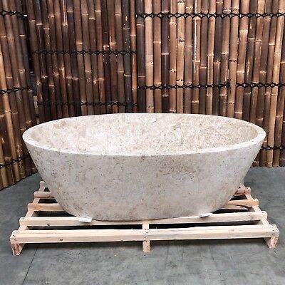 """Initiative """"aqua"""" Hell Beige Naturstein Design Badewanne 180x90x58cm Heimwerker Badewannen"""