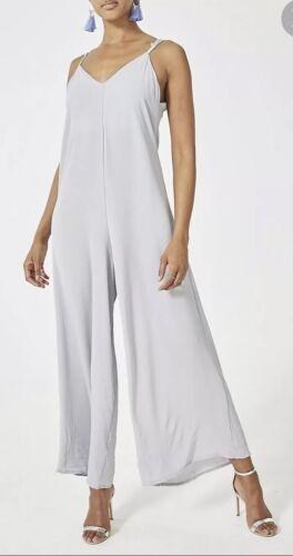 BNWT Ladies Designer Women's Light Grey Wide Leg Jumpsuit One Size Fit 8-12