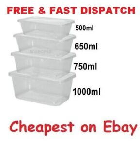 Clear-Plastic-Quality-Containers-Tubs-with-Lids-Microwave-Food-Safe-Takeaway