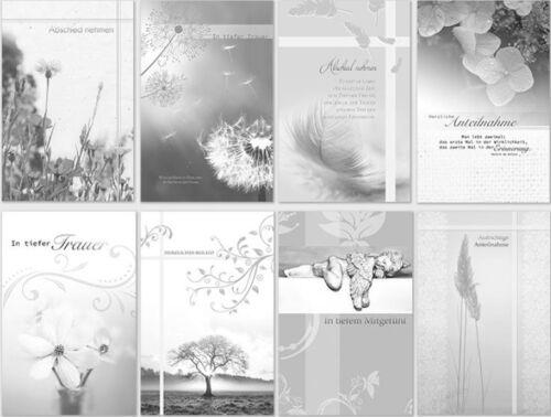 100 Trauerkarten Trauerkarte Trauer Beileidskarten Kondolenzkarten sk 4772