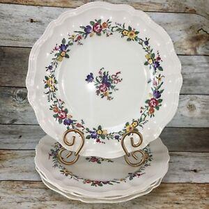 VTG-Royal-Doulton-LEIGHTON-Floral-Scalloped-Dinner-Plates-D-6164-England-Set-4