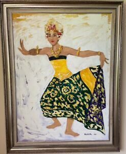 Large-Framed-Oil-Painting-of-Balinese-Dancer-done-in-palette-knife