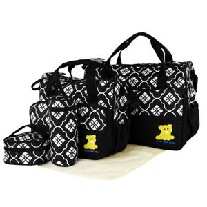 5 Pcs Mummy Baby Maternity Diaper Bag Nappy Changing Large Capacity Handbags  Black 0ae8e76750