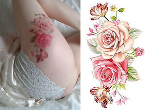 Temporary tattoo pink roses large flower stickers body art fake image is loading temporary tattoo pink roses large flower stickers body mightylinksfo