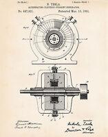 Tesla Images 1891 Patent Prints Alternating Electric Current Magnetic Generator