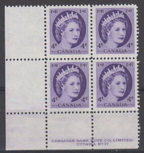 CANADA-340-4-Queen-Elizabeth-II-Wilding-Issue-LL-Plate-17-Block-MNH-A