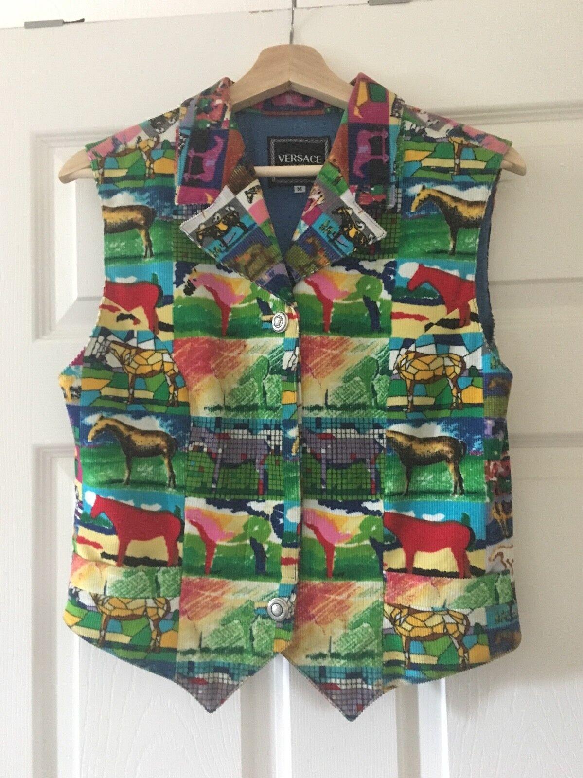Vintage Versace couture vest, patchwork, horses, size M