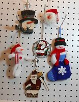 Snowman & Santa Ornaments - Stocking, Fuzzy Face, Glass, Wood - Set Of 6