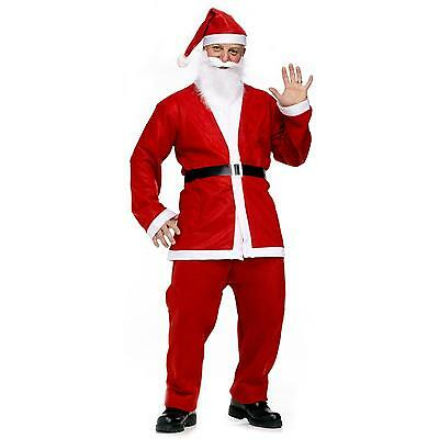 Mens Santa Claus Costume Father Christmas Fancy Dress Budget Outfit Suit Adult.