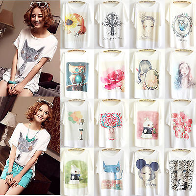 Fashion Women's Loose Cotton Batwing Sleeve Animal Print T-Shirt Summer Tee Tops