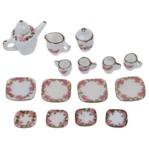 Set-of-15pcs-1-12-Dollhouse-Miniature-Dining-Ware-Porcelain-Tea-Set-Pot-Dis-C6U2