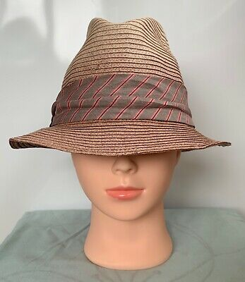 * Guess * Women's Paper Straw Purple Ombré Foldable Hat With Grey Ribbon Size M